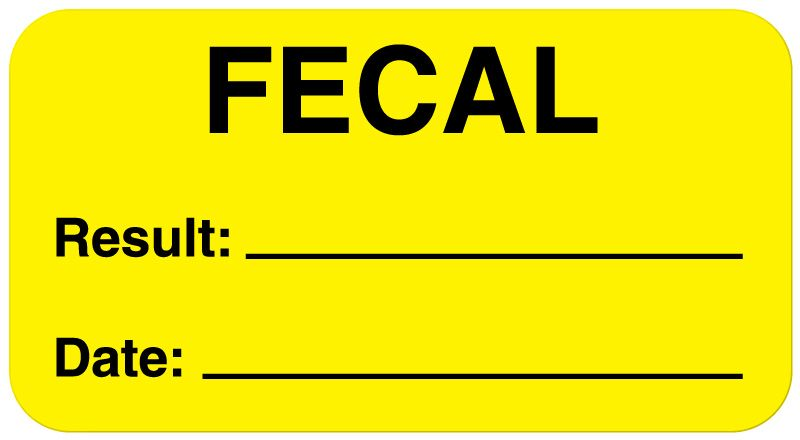 "Fecal Label, 1-5/8"" x 7/8"""