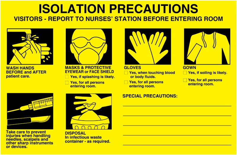Isolation Precautions Signs Isolation Precaution Labels