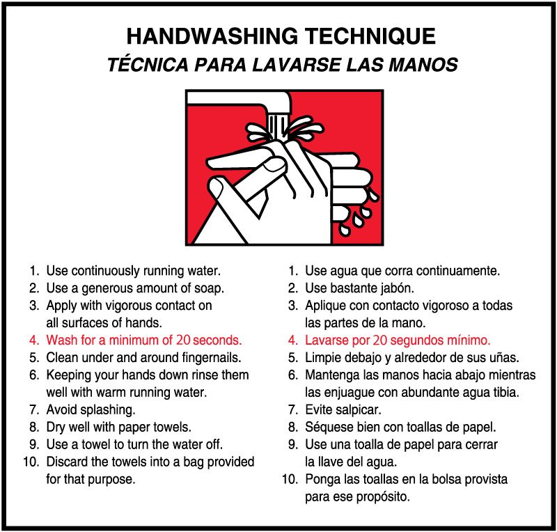 "Hand Washing Technique Labels, 6"" x 6"""