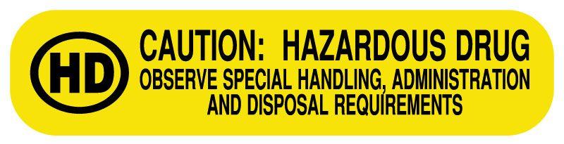 Hazardous Drug Medication Instruction Label 1 58 X 38 United