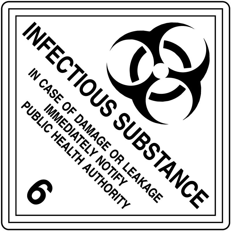 """INFECTIOUS SUBSTANCE, Shipping Label,  4"""" x 4"""""""