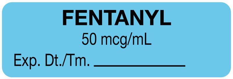 "Anesthesia Label, Fentanyl 50 mcg/mL, 1-1/2"" x"