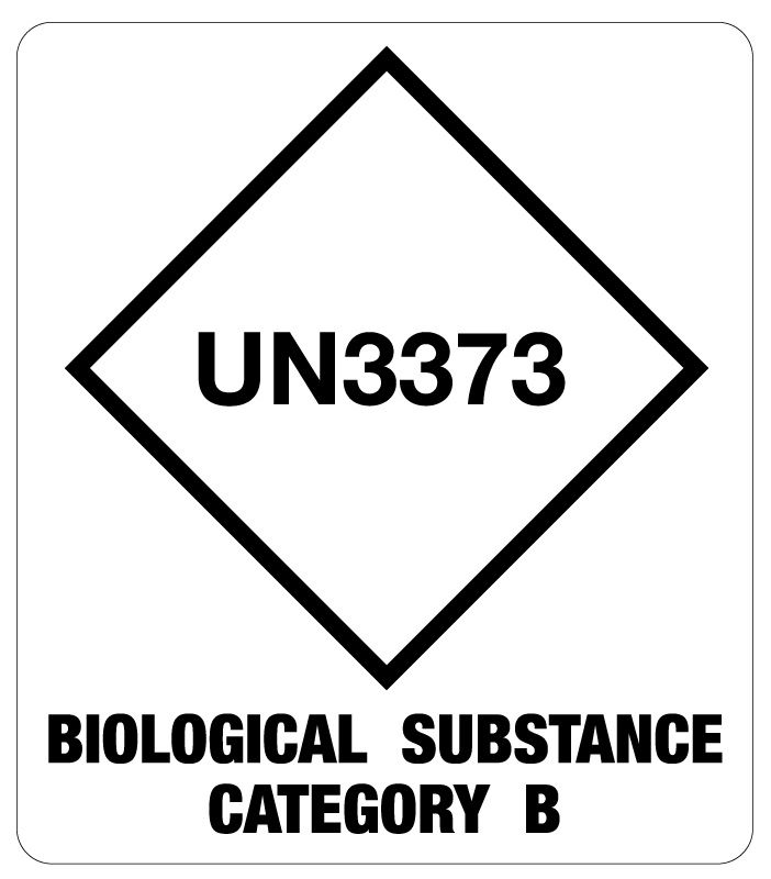 "Un3373 Cat B Bio Substance Shipping Label, 3-1/2"" X 4"" 