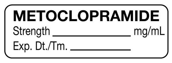 Anesthesia Label, Metoclopramide mg/mL, 1-1/2