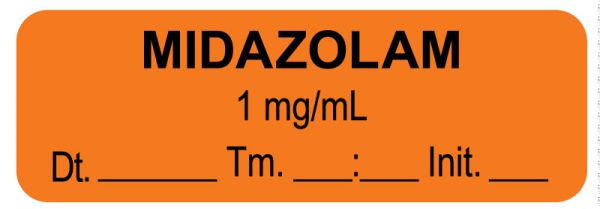 Anesthesia Label, Midazolam 1 mg/mL Date Time Initial, 1-1/2