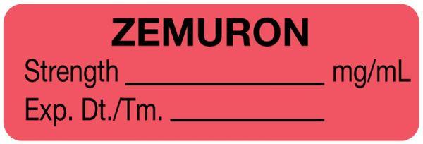 Anesthesia Label, Zemuron mg/mL, 1-1/2