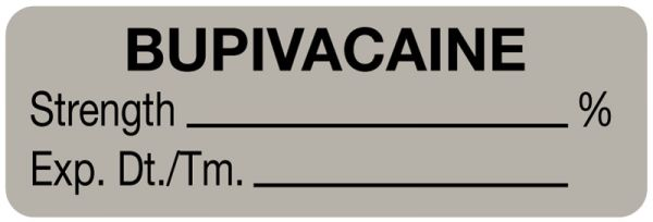 Anesthesia Label, Bupivacaine %, 1-1/2