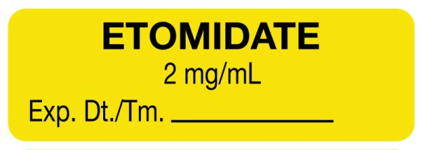 Anesthesia Label, Etomidate 2 Mg/mL, 1-1/2