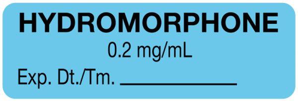 Anesthesia Label, Hydromorphone 0.2mg/mL, 1-1/2