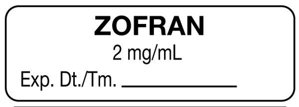 Anesthesia Label, Zofran 2 mg/mL, 1-1/2