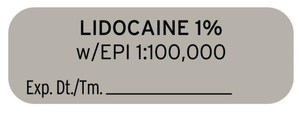 Anesthesia Label, Lidocaine 1% W EPI, 1-1/2