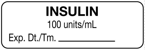 Anesthesia Label, Insulin 100 units/mL, 1-1/2