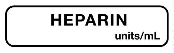 Anesthesia Label, Heparin Units/mL, 1-1/4