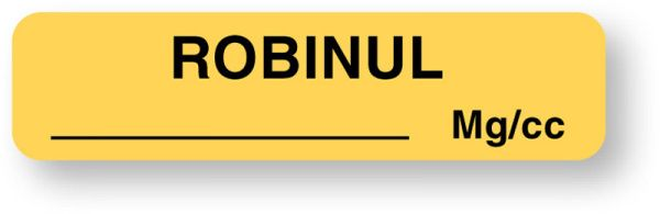 Anesthesia Label, Robinul mg/cc, 1-1/4