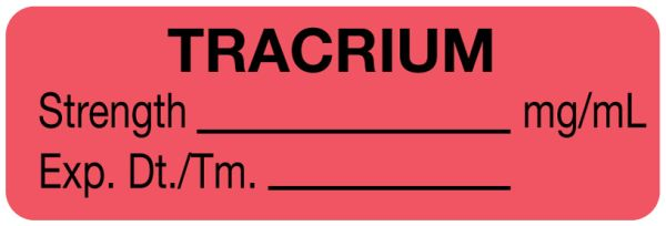 Anesthesia Label, Tracurium mg/mL, 1-1/2