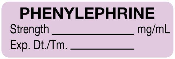 Anesthesia Label, Phenylephrine mg/mL, 1-1/2
