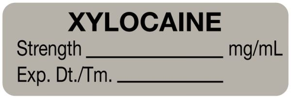 Anesthesia Label, Xylocaine mg/mL, 1-1/2