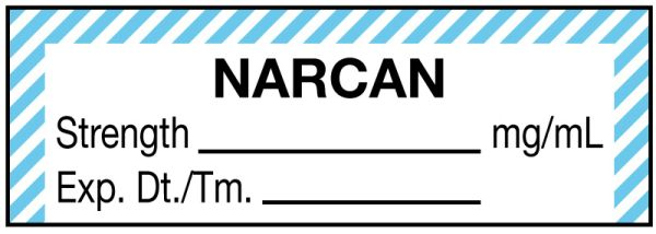 Anesthesia Label, Narcan mg/mL, 1-1/2