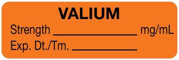 Anesthesia Label, Valium mg/mL, 1-1/2