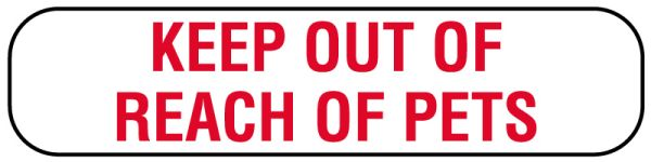 KEEP OUT OF REACH OF PETS Label, 1-5/8