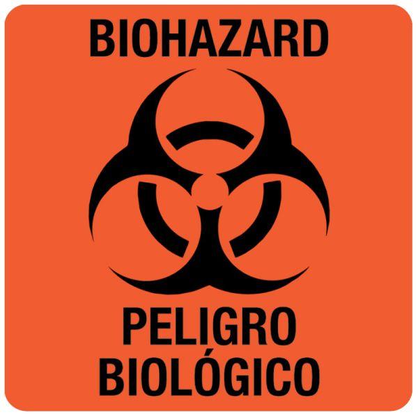 Bilingual Biohazard Warning Label, 3