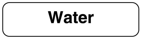 WATER, Beverage Identification Labels, 1-1/4