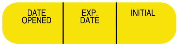 DATE OPEN EXP DATE IN, Medication Instruction Label, 1-5/8