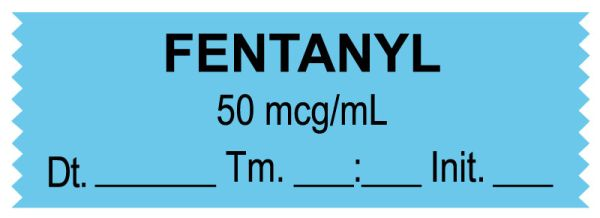 Anesthesia Tape, Fentanyl 50 mcg/mL, Date Time Initial, 1-1/2