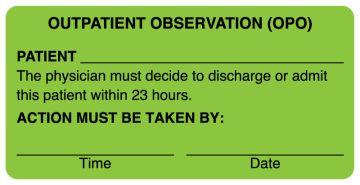 "OUTPATIENT OBSERVATION Label, 4"" x 2"""