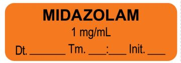 "Anesthesia Label, Midazolam 1 mg/mL Date Time Initial, 1-1/2"" x 1/2"""