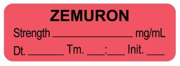 "Anesthesia Label,  Zemuron  mg/mL  DTI 1-1/2"" x 1/2"""