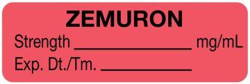 """Anesthesia Label, Zemuron mg/mL, 1-1/2"""" x 1/2"""""""