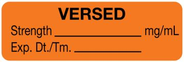"""Anesthesia Label, Versed mg/mL, 1-1/2"""" x 1/2"""""""