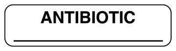 "Anesthesia Label, Antibiotic, 1-1/4"" x 5/16"""