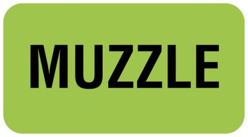 "Muzzle Label, 1-5/8"" x 7/8"""