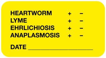 "Heartworm, Lyme, Ehrlichiosis, Anaplasmosis Label, 1-5/8"" x 7/8"""