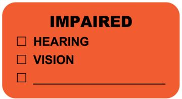"IMPAIRED, Communication Label, 1-5/8"" x 7/8"""