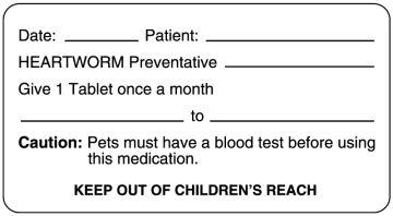 "Heartworm Medication Dispensing Label, 3"" x 1-5/8"""