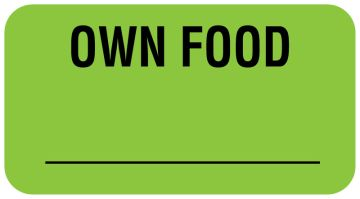 "OWN FOOD, Communication Label, 1-5/8"" x 7/8"""