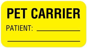 """PET CARRIER PATIENT:, Communication Label, 1-5/8"""" x 7/8"""""""