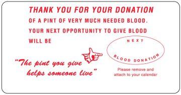 "White Donation Thanks Label, 3-7/8"" x 2"""