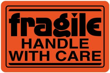 """Fragile Shipping Label, 3"""" x 2"""""""