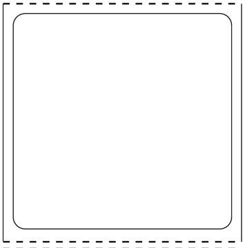 "Direct Thermal Film Printer Label w/DIN cutout,  1"" core, 4"" x 4"""