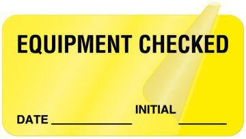 """Equipment Checked Label, 2"""" x 1"""""""