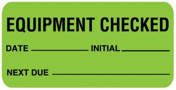"""Equipment Checked Label, 1"""" x 2"""""""