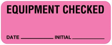 """Equipment Checked Label, 2-1/4"""" x 7/8"""""""