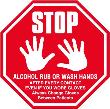 """Stop Sign Infection Control Labels, 6"""" x 6"""""""