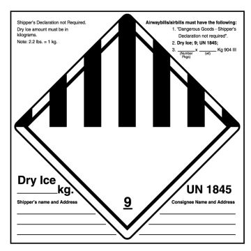 """UN1845 Dry Ice Shipping Label, 6"""" x 6"""""""