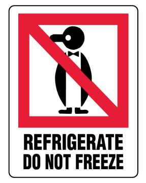 """REFRIGERATE DO NOT FREEZE, Shipping Label, 3"""" x 4"""""""