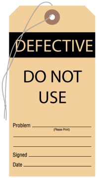 "Defective Do Not Use Tag, 3-1/8"" x 6-1/4"""